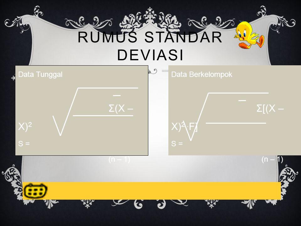Rumus Standar Deviasi Σ(X – X)2 Σ[(X – X)2 .F] Data Tunggal S =